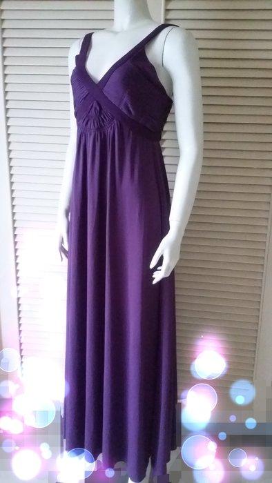 原價八萬多 津森千里《TSUMORI CHISATO》高雅葡萄紫裸肩露背長禮服