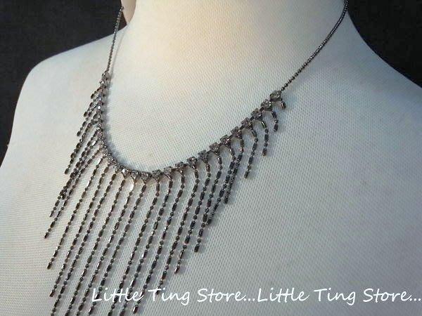 Little Ting Store: 韓國婚禮晚宴飾品 灰底台白水晶鑽流蘇鏈帶圈 頸鍊鎖骨鏈 短項鍊