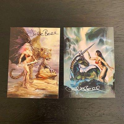 1994 & 2003 Julie Bell 美國美術家 親筆簽名 收藏卡 卡片 共2張