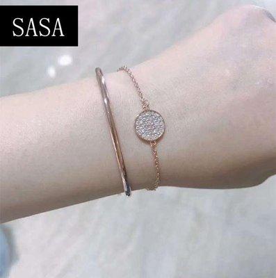 春季上新 時尚二合一手鐲微鑲玫瑰金白雙層圓圈網球拍手鍊手環飾品閨蜜禮物