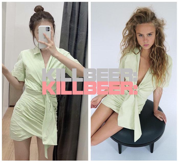KillBeer:小姊姊等等我之歐美復古俐落率性簡約設計baby蘋果嫩綠立體剪裁抓皺綁帶襯衫包臀連身洋裝A080201
