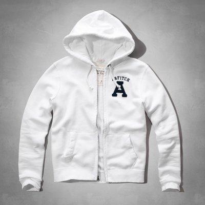 Maple麋鹿小舖 Abercrombie&Fitch * AF 白色貼布電繡字母連帽外套*( 現貨XL號 )