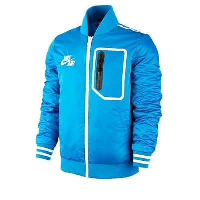 S.G NIKE BASKETBALL TAPED VARSITY 645336-010 防水 拉鍊 藍 保暖材質