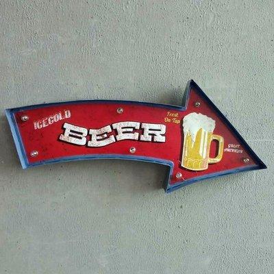 摩登LOFT工業風啤酒杯電子LED燈壁掛招牌 鐵製仿舊個性裝飾Beer BAR燈牌 美式復古壁飾小夜燈鐵皮啤酒吧標示標誌