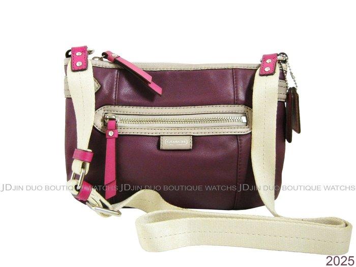 金鐸精品~2025 COACH F49516 葡萄紫色皮革紋小型 側肩背包 全新品