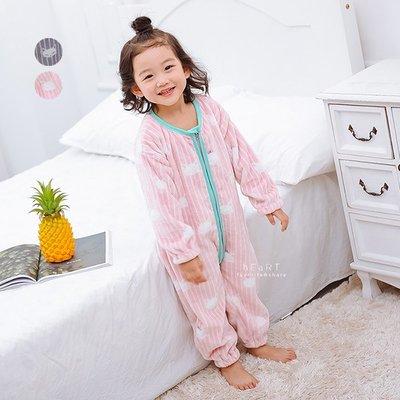 【可愛村】卡通拉鍊式加絨居家連身裝 兒童睡衣 童裝 保暖服飾