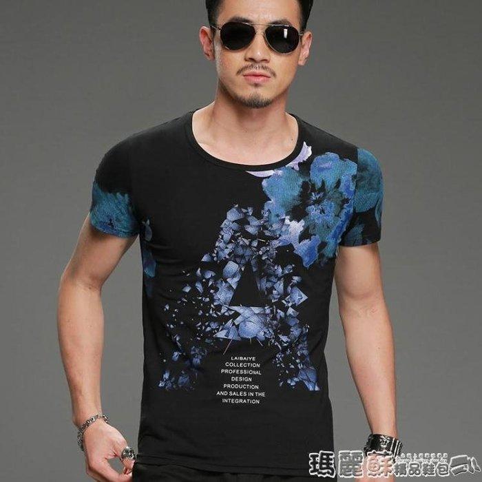上衣 中國風山水畫水墨印花T恤男裝個性夏季休閒短袖圓領半截袖