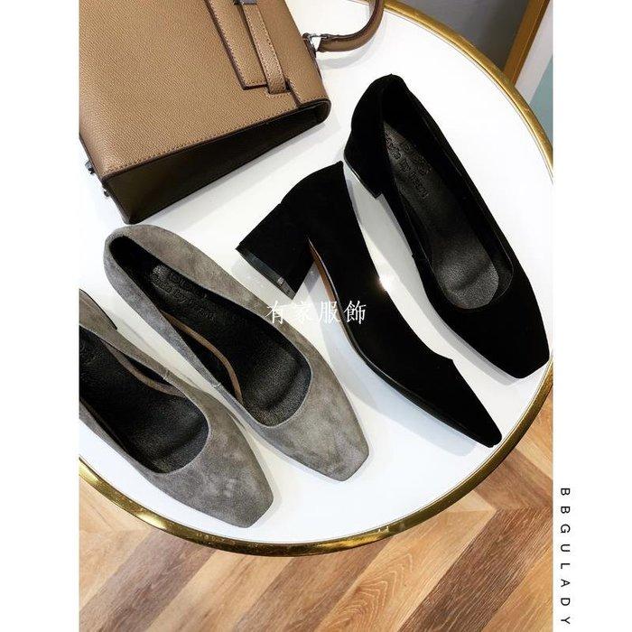 有家服飾BB古真皮超舒適2019新方頭磨砂單鞋 職業工作低跟簡約純色高跟鞋