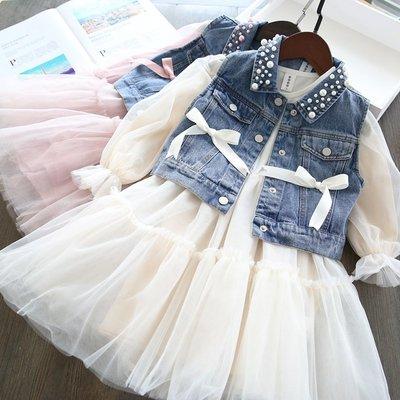 【VIAN】含運仙~女童牛仔馬甲+公主裙兩件套裝韓版兒童紗裙連衣裙19春童裝新款