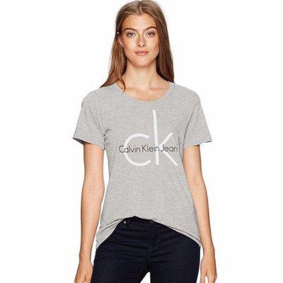 (高雄自取)保證正品【現貨】 CK Calvin Klein 經典大LOGO 女款圓領短袖T (灰色)