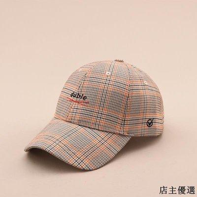 帽子女冬季港風文藝格子學生棒球帽韓版時尚百搭字母刺繡鴨舌帽男