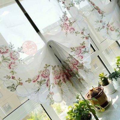 粉紅玫瑰精品屋~韓式田園花朵提拉簾刺繡...