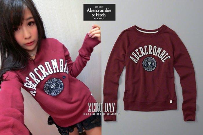 【零時差】A&F Abercrombie&Fitch Logo Graphic Crew Sweatshirt大學T酒紅