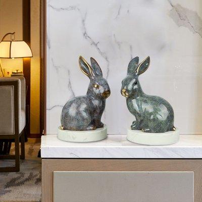 掛鐘 鬧鐘 墻壁鐘 裝飾鐘錶純銅兔歐式家居客廳電視柜酒柜擺件裝飾品奢華美式創意家居裝飾品
