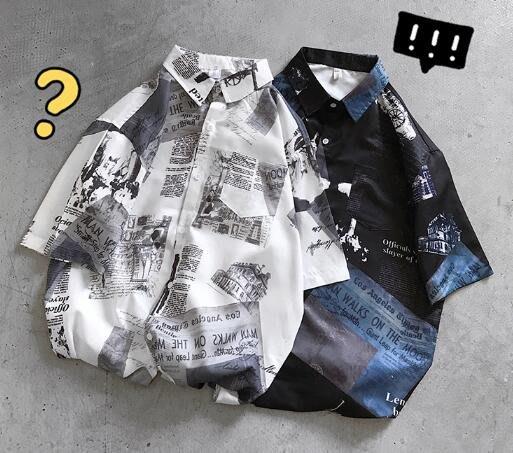 FINDSENSE X  男士 復古 翻領  短袖襯衫 夏季男塗鴉花上衣情侶襯衣潮襯衫