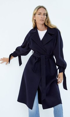 Miolla 西部牙品牌Zara深藍色雙面羊絨輕薄柔軟保暖袖扣腰間綁帶大衣