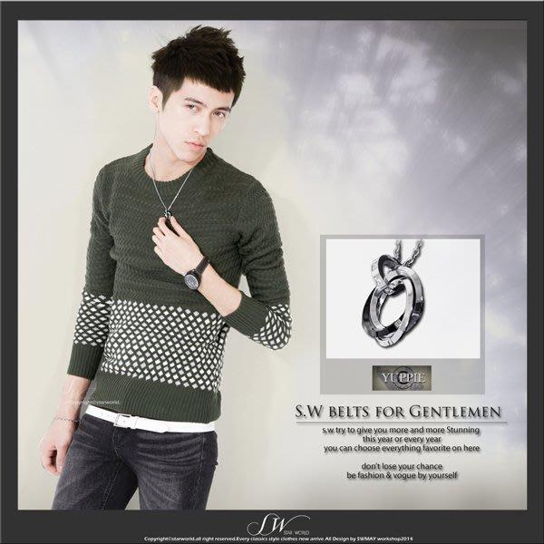 。SW。【K81108】韓國 專櫃精品 都會時尚感 質感 三環水鑽墜 鈦鋼鍊 雅痞