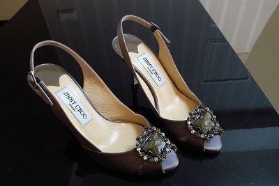 *Beauty*JIMMY CHOO灰色緞面寶石扣高跟魚口鞋 37號 WE17  婚鞋 加圖