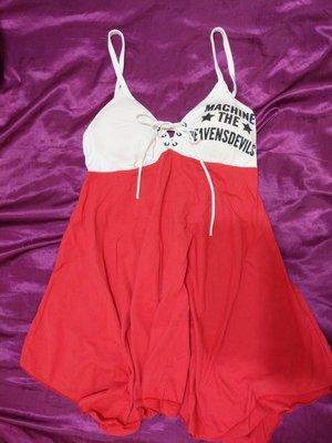 細肩帶馬甲綁帶造型白紅色拼接裙襬不規則低胸性感氣質可愛小洋裝 渡假海灘 夜店 必備 短裙 迷你裙 連身裙