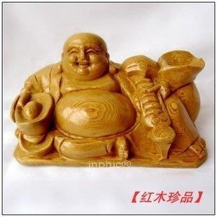 《宇煌》紅木工藝品 香柏木雕彌勒佛手執元寶如意風水擺飾 轉運添福保平安_小款