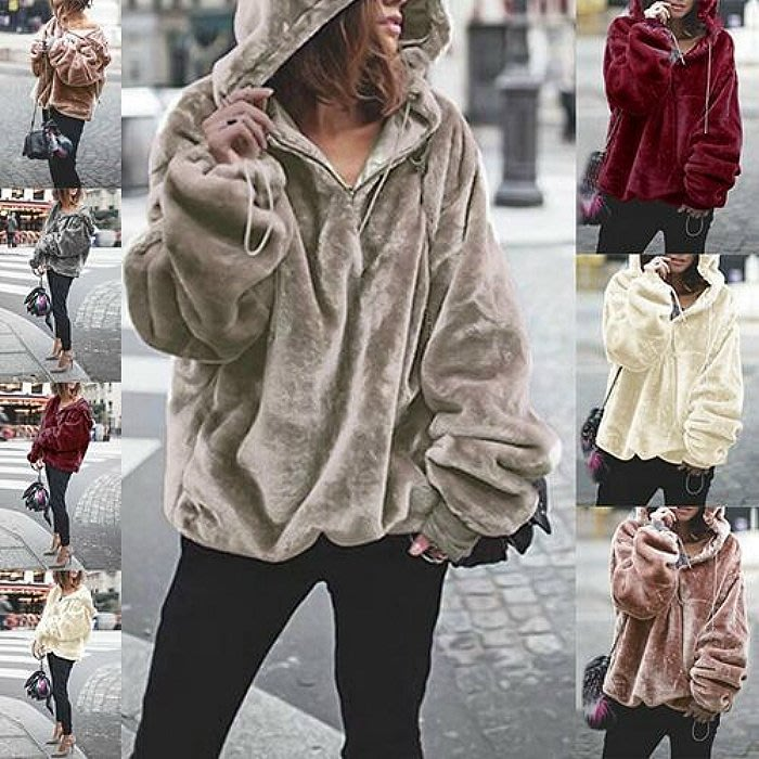 ☆中大碼 [吉米花] B-060135 保暖舒適寬鬆連帽上衣T恤 ( 五色 2XL.5XL ) 現貨