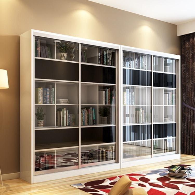 簡約現代烤漆推拉門書櫃玻璃門書架大書櫥儲物櫃文件資料櫃