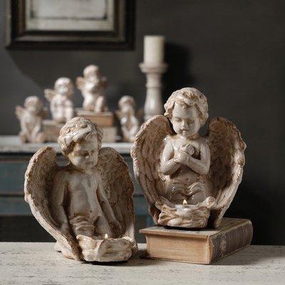 〖洋碼頭〗法式復古做舊陶瓷裂紋Angels天使燭臺擺件婚禮蠟燭臺飾品 shx150