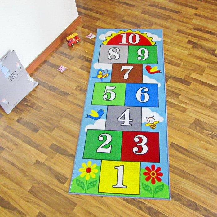 地毯 手工羊毛简约 可爱风跳房子兒童地毯地墊包郵跳格子運動可愛卡通兒童房游戲防滑可機洗