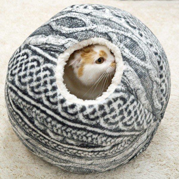 日本多格漫舒睡貓窩手編風編織毛線球貓房子兩用球形