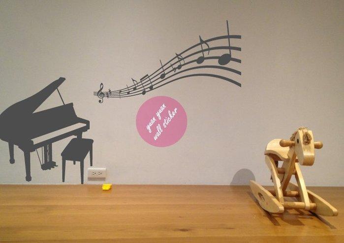 【源遠】鋼琴與音符music is my life【M-03】 壁貼 設計 裝潢 璧紙 璧貼 室內設計 音樂 唱片