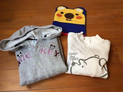 麗嬰房兒童帽T 三件$239運60 110cm 米奇 維尼熊保暖厚棉上衣