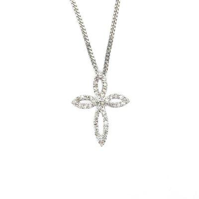 【JHT金宏總珠寶/GIA鑽石專賣】十字架造型天然鑽石項鍊/材質:PT850/750(JB46-A41)