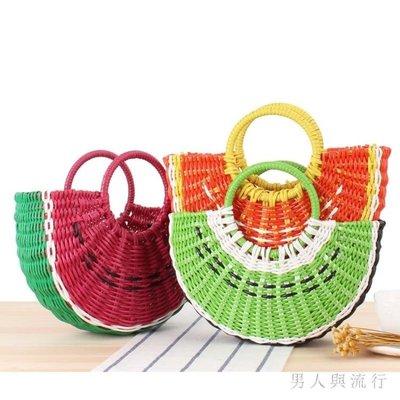 創意西瓜彩色水果草編包手提包愛半圓型手工編織包沙灘女包 DR27633【全場免運】
