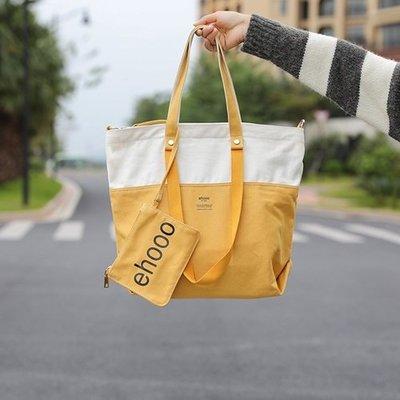 手提包 帆布單肩包-拼色大容量休閒托特包女包包6色73xb5[獨家進口][米蘭精品]