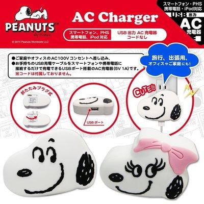 尼德斯Nydus~* 日本正版 史努比 Snoopy 造型插座 USB 充電器 iPhone6/6S 安卓 適用