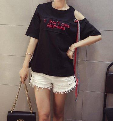 FINDSENSE MD 韓國時尚 女 寬鬆 露肩 可愛甜美 字母刺繡 圓領T恤 短袖T恤 上衣