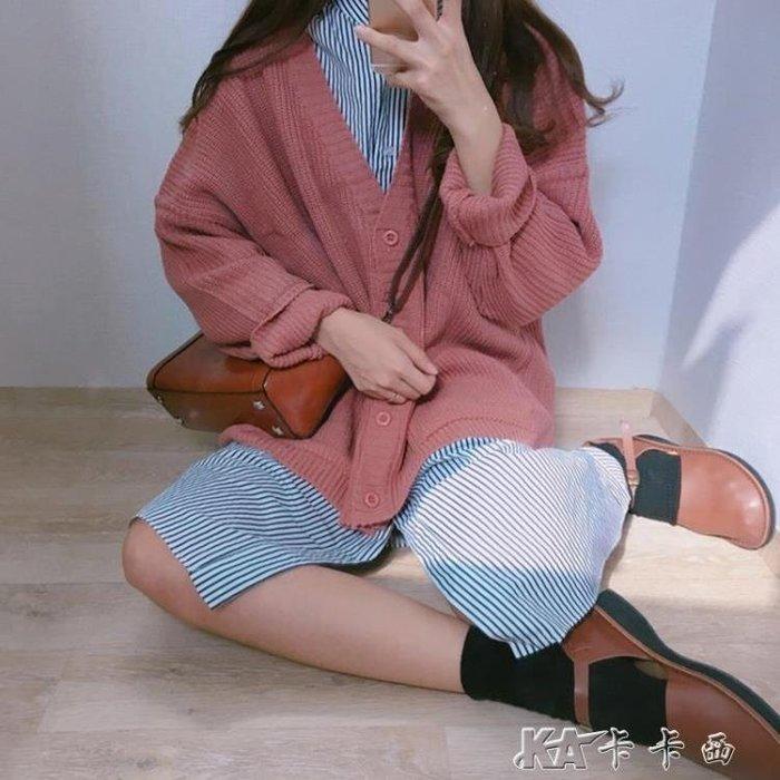 針織外套 韓版寬鬆V領單排扣長袖毛衣女學生中長款針織衫開衫外套