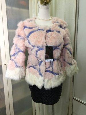 羽竹店鋪 %真皮草 兔賴毛粉色藍線短版外套051 尺寸L