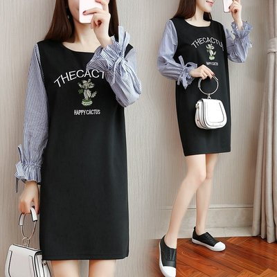 GOGO SHOP☆╭韓版新款 時尚條紋荷葉袖洋裝 圓領字母印花娃娃裝連身裙 【Y1568】M~5XL大碼水水女裝