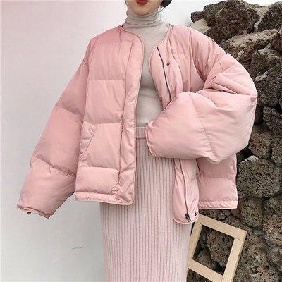 BZA 韓版港風寬松圓領長袖中長款面包服外套女秋冬季棒球棉服棉衣