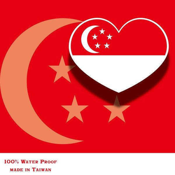 【國旗貼紙專賣店】新加坡愛心形旅行箱貼紙/抗UV防水/多國款可收集和客製