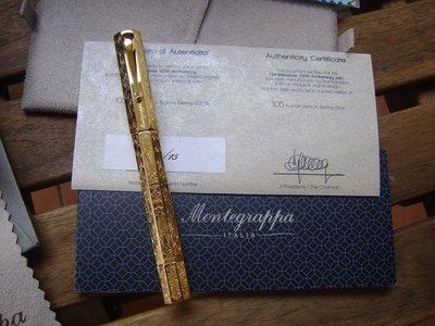 現貨!!Montegrappa 105週年 限量REMINISCENCE 八角 Vermeil 純銀包金 鋼筆
