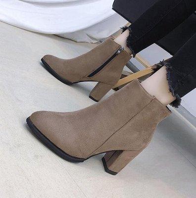 麥麥部落 短靴靴子女秋季尖頭磨砂裸靴女高跟短靴女粗跟原宿歐洲站MB9D8
