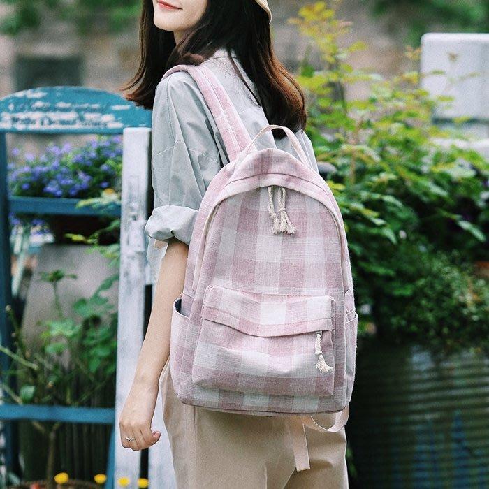 FuNFang_日系小清新格紋帆布後背包*2色