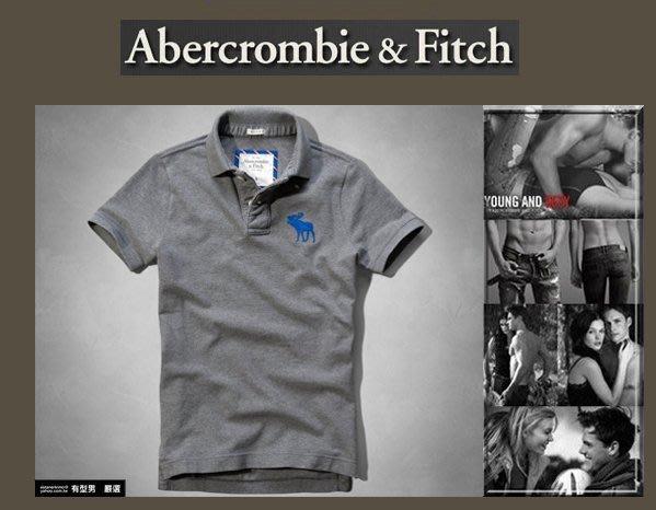 有型男~ A&F Abercrombie&Fitch 旗艦店大麋鹿 polo Hebert Brook 灰色 L 現貨