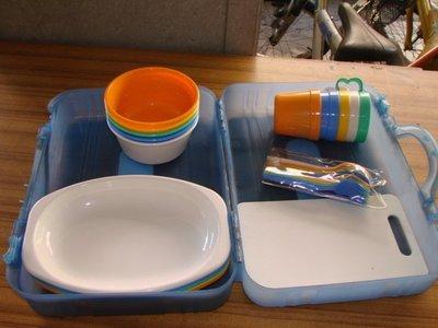 【連強二手商品】水藍色提箱餐具組 野餐餐具組微波鍋也可使用....(未使用過)