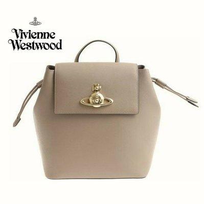 Vivienne Westwood ►(裸灰駝色) 防刮真皮壓紋 後背包 肩背包 手提包|100%全新正品|特價