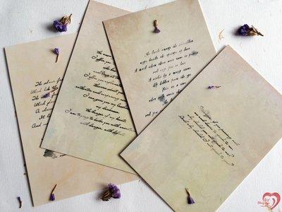 ♥ STORY SAYS ♥【暈染】Infeel me原創創意設計淋濕的情書明信片(一組5張) 卡片 情書 詩 復古