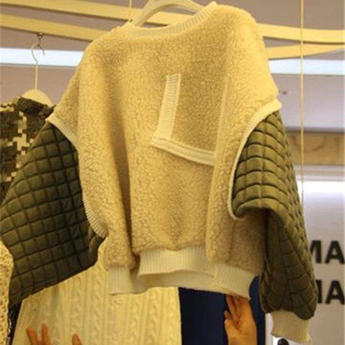 東大門平價鋪  韓國新款加厚羊羔毛套頭外套,女韓版學生時尚拼接長袖上衣女裝