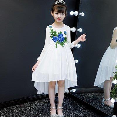 [C.M.平價精品館]130現貨出清特價/中西合璧精緻刺繡圖案前短後長白色長袖洋裝